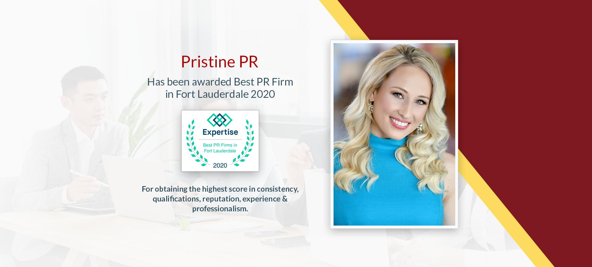 Pristine PR Awarded 'Best PR Firm' In Fort Lauderdale 2020
